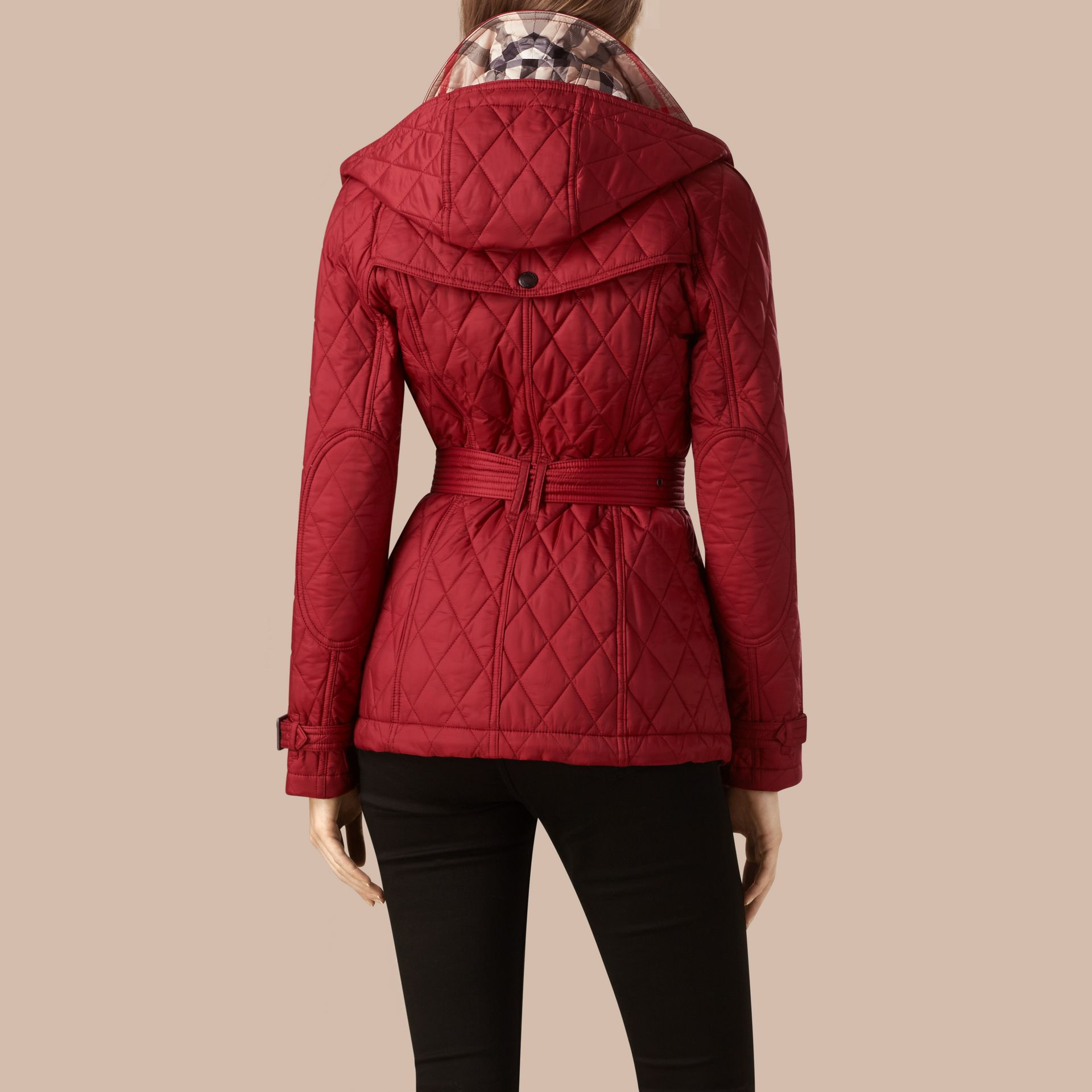 Quilted Trench Jacket with Detachable Hood Dark Crimson - gallery image 3