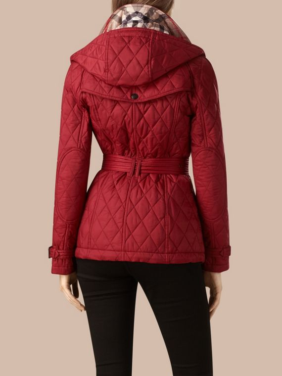 Quilted Trench Jacket with Detachable Hood Dark Crimson - cell image 2