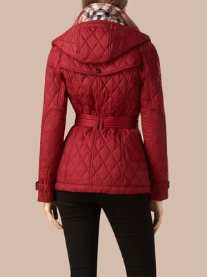 DARK CRIMSON Quilted Trench Jacket with Detachable Hood 产品图片21