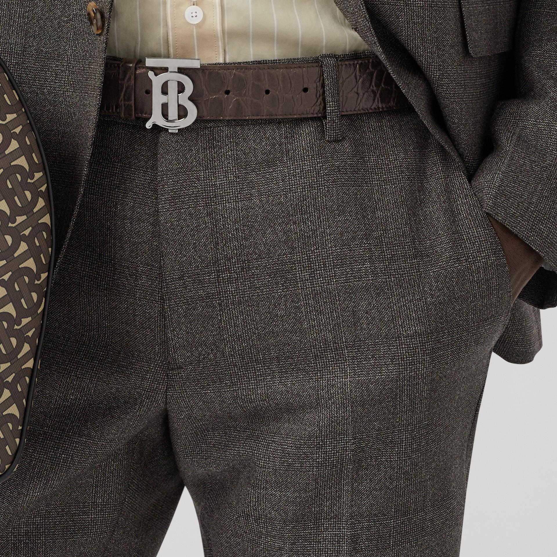 Monogram Motif Embossed Leather Belt in Brown - Men | Burberry - gallery image 2