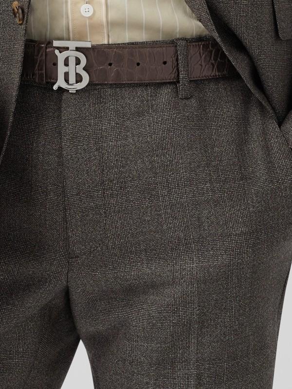 Monogram Motif Embossed Leather Belt in Brown - Men | Burberry - cell image 2