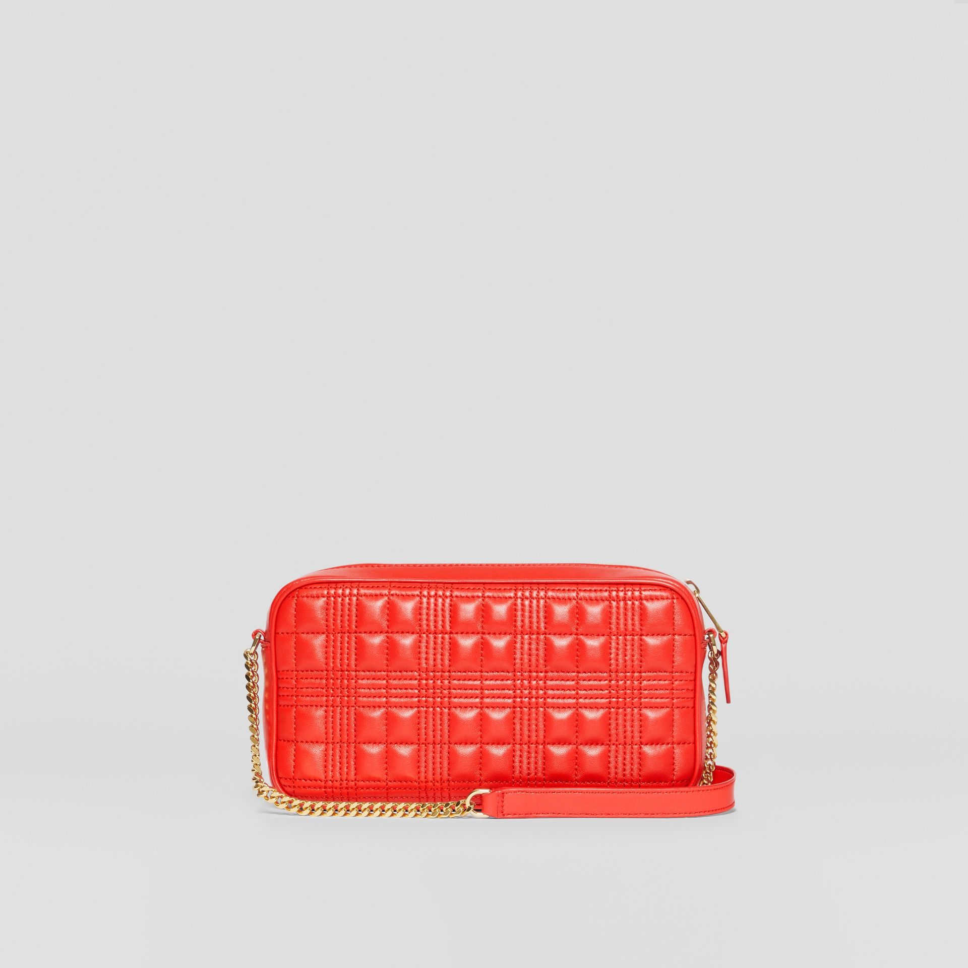 Quilted Check Lambskin Camera Bag in Bright Red - Women | Burberry - gallery image 7