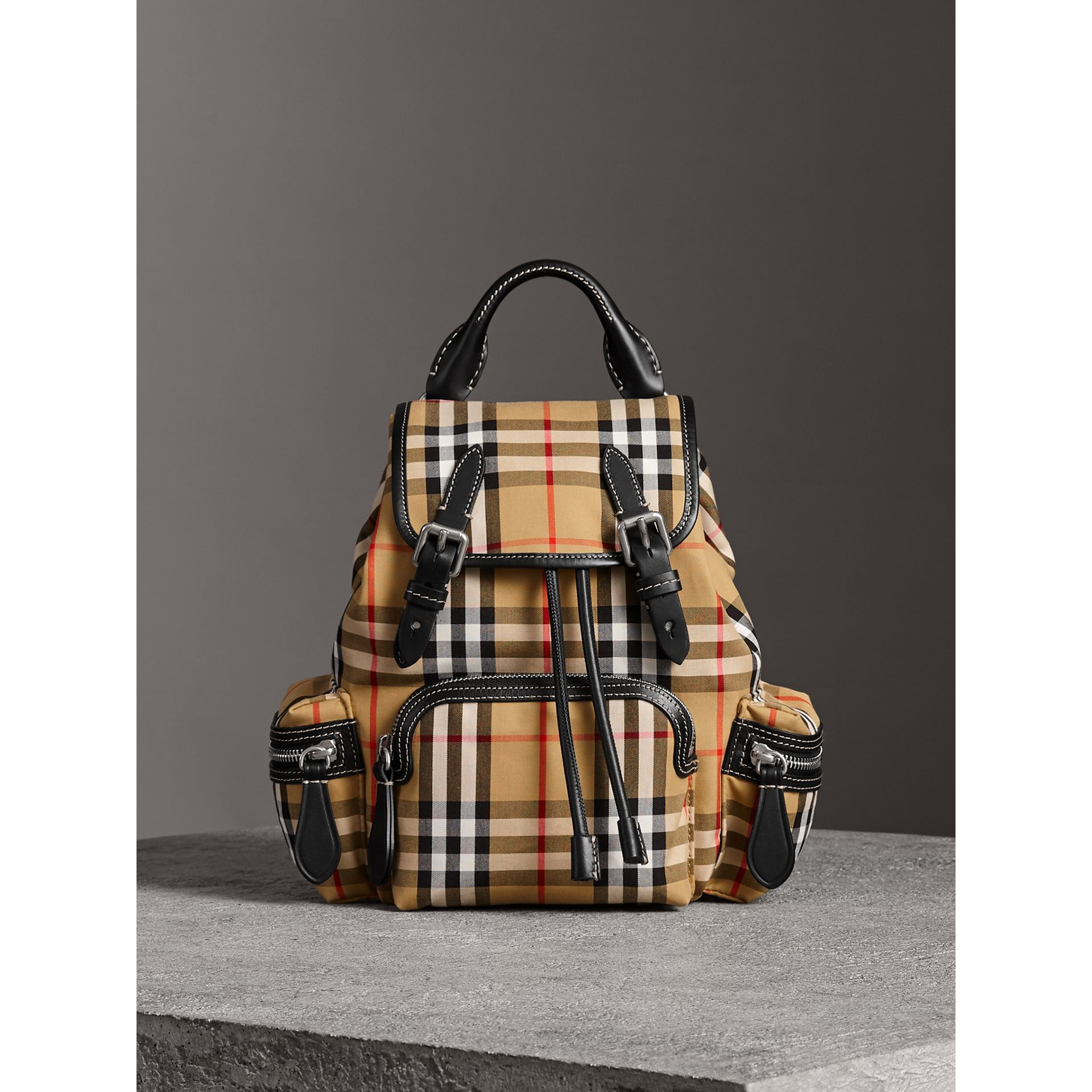The Crossbody Rucksack in Vintage Check and Leather in Antique Yellow - Women | Burberry - gallery image 7