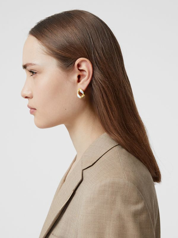 Porcelain Detail Gold-plated Chain-link Earrings in Light Gold/white/blue - Women | Burberry - cell image 2