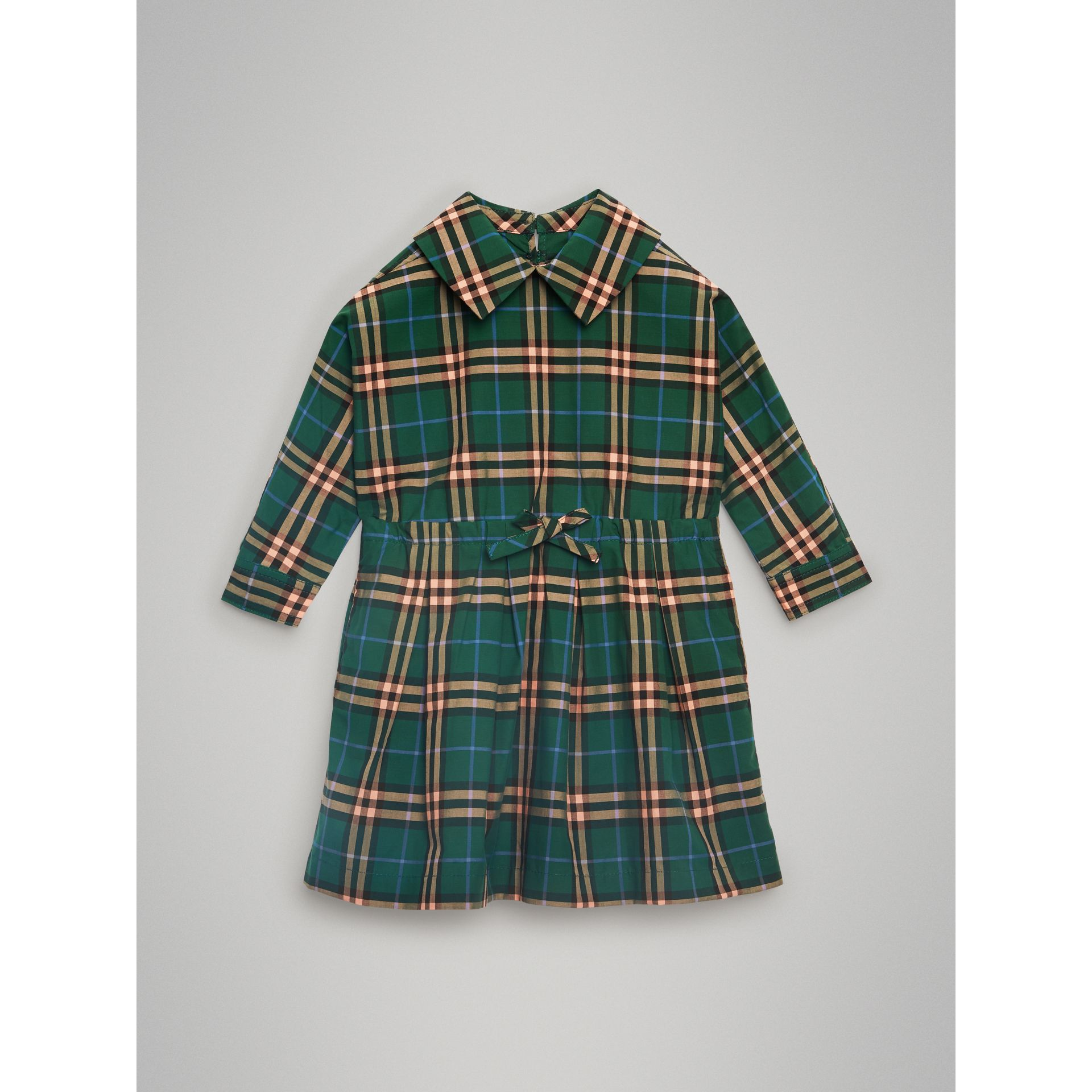 Check Cotton Drawcord Dress in Dark Forest Green - Children | Burberry Australia - gallery image 0