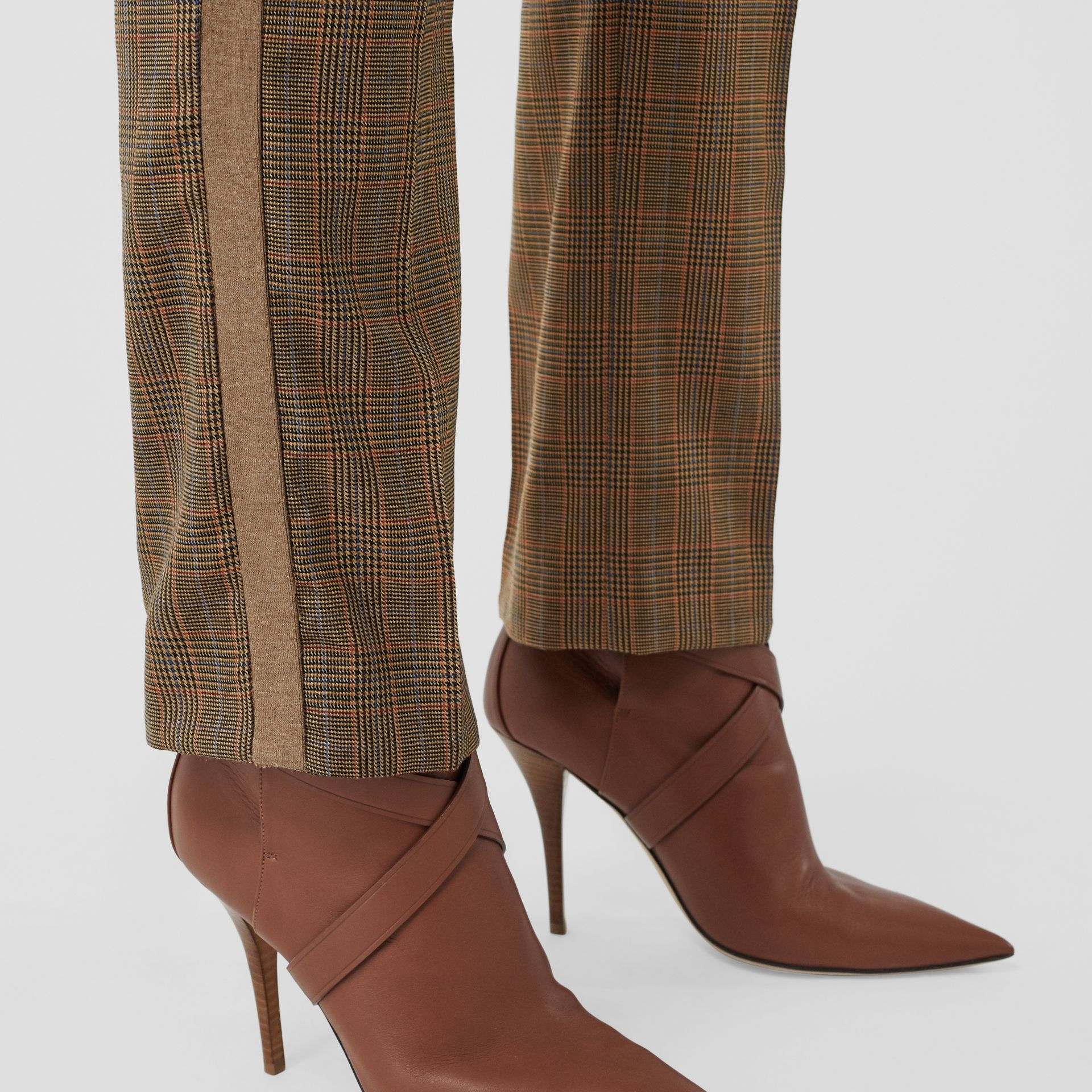 Side Stripe Houndstooth Check Wool Tailored Trousers in Fawn - Women | Burberry Hong Kong S.A.R - gallery image 1