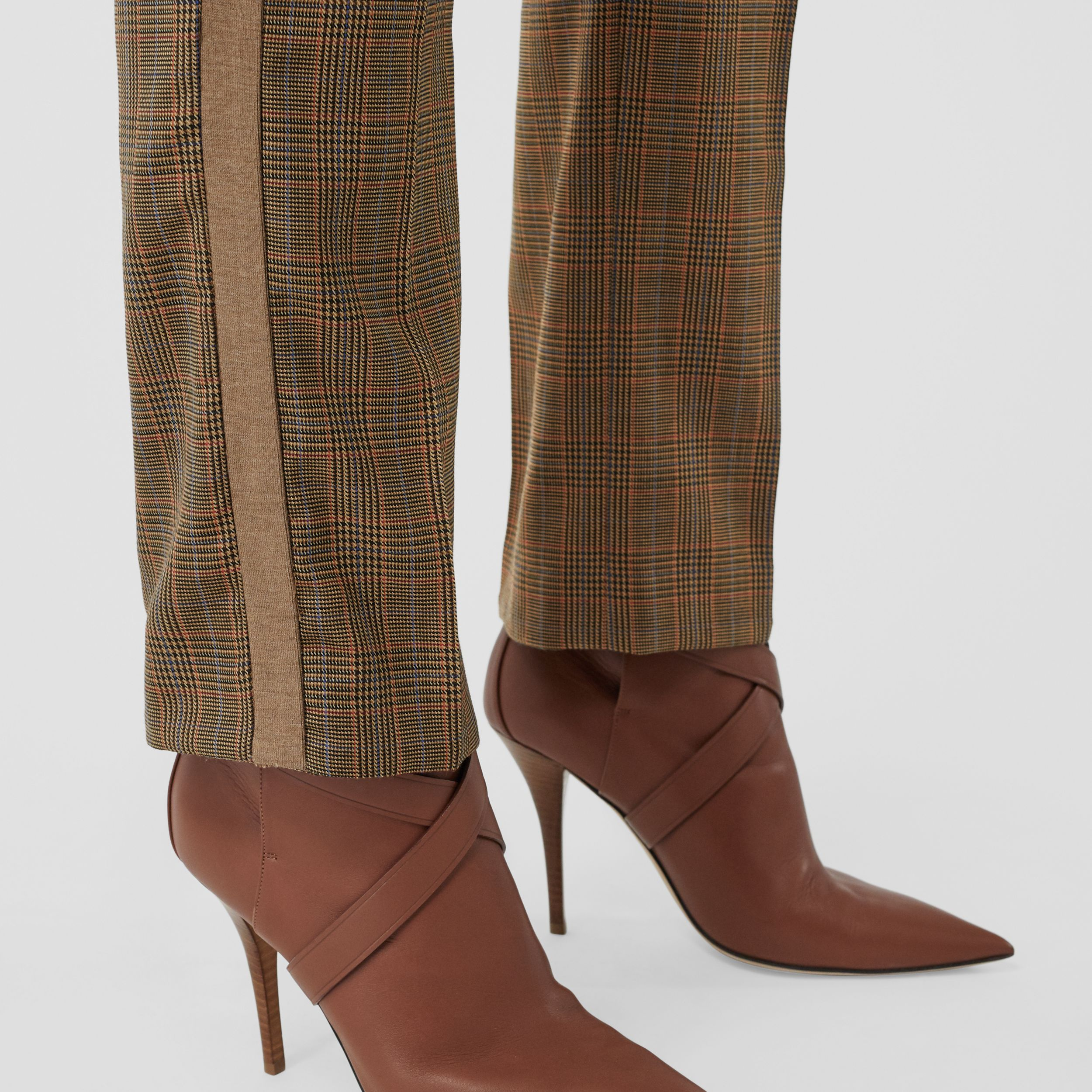 Side Stripe Houndstooth Check Wool Tailored Trousers in Fawn - Women | Burberry - 2