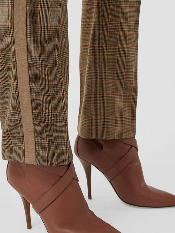 Side Stripe Houndstooth Check Wool Tailored Trousers in Fawn - Women | Burberry Hong Kong S.A.R - cell image 1