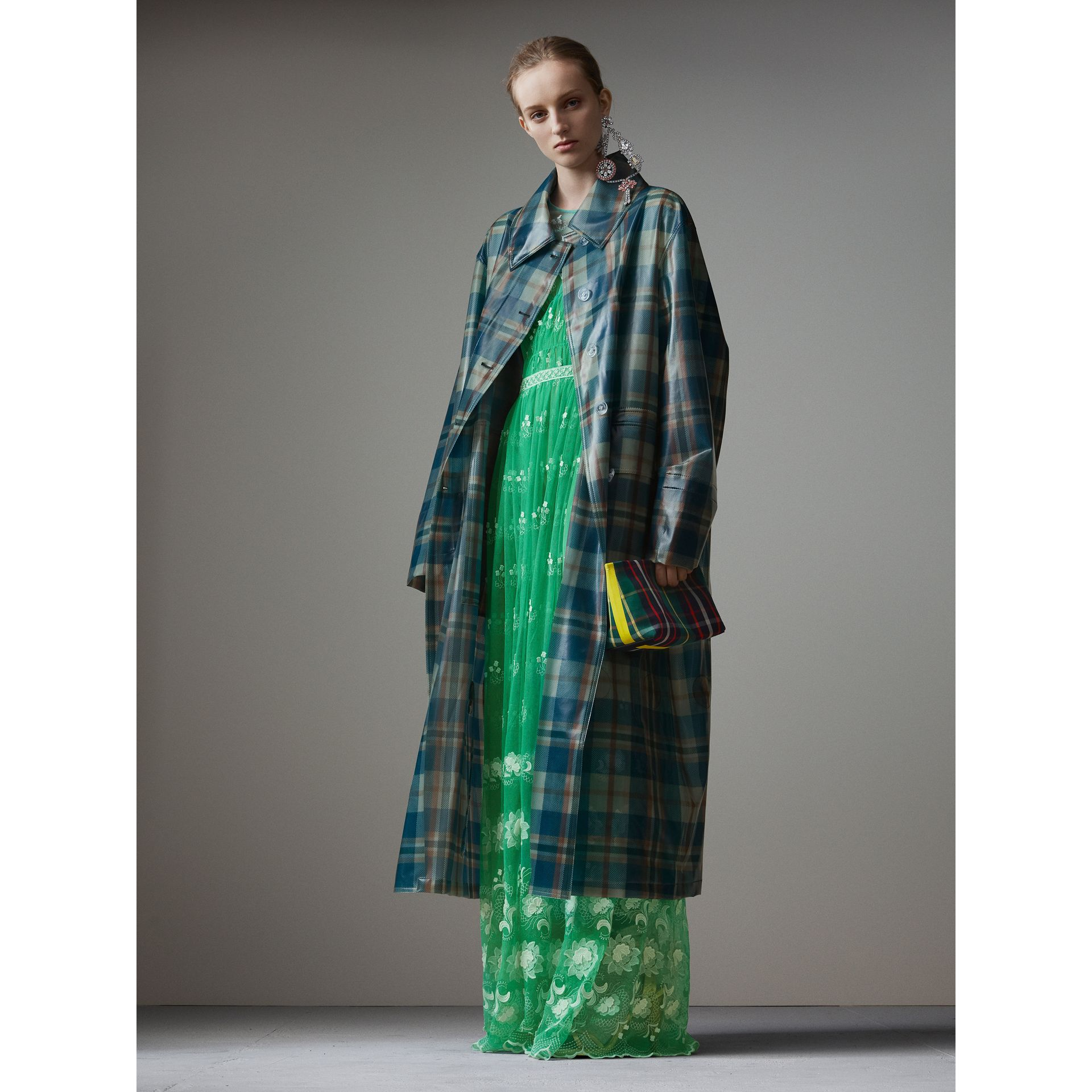 Embroidered Tulle Gathered Dress in Aqua Green/white - Women   Burberry - gallery image 5