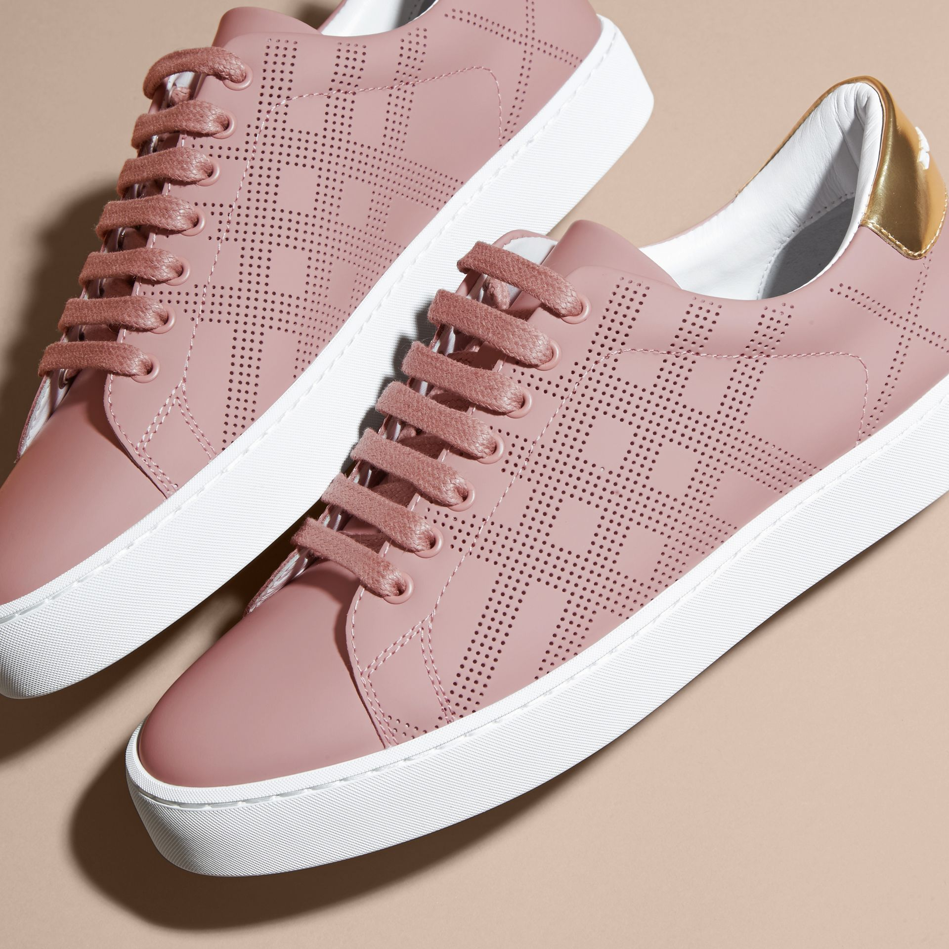 Perforated Check Leather Trainers Rose Pink - gallery image 2