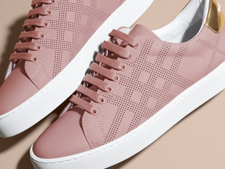 Perforated Check Leather Trainers Rose Pink - cell image 1