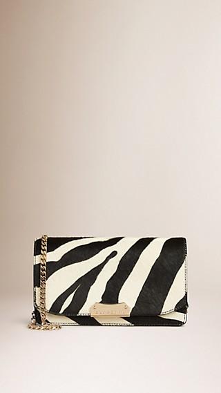 Zebra Print Calfskin Clutch Bag