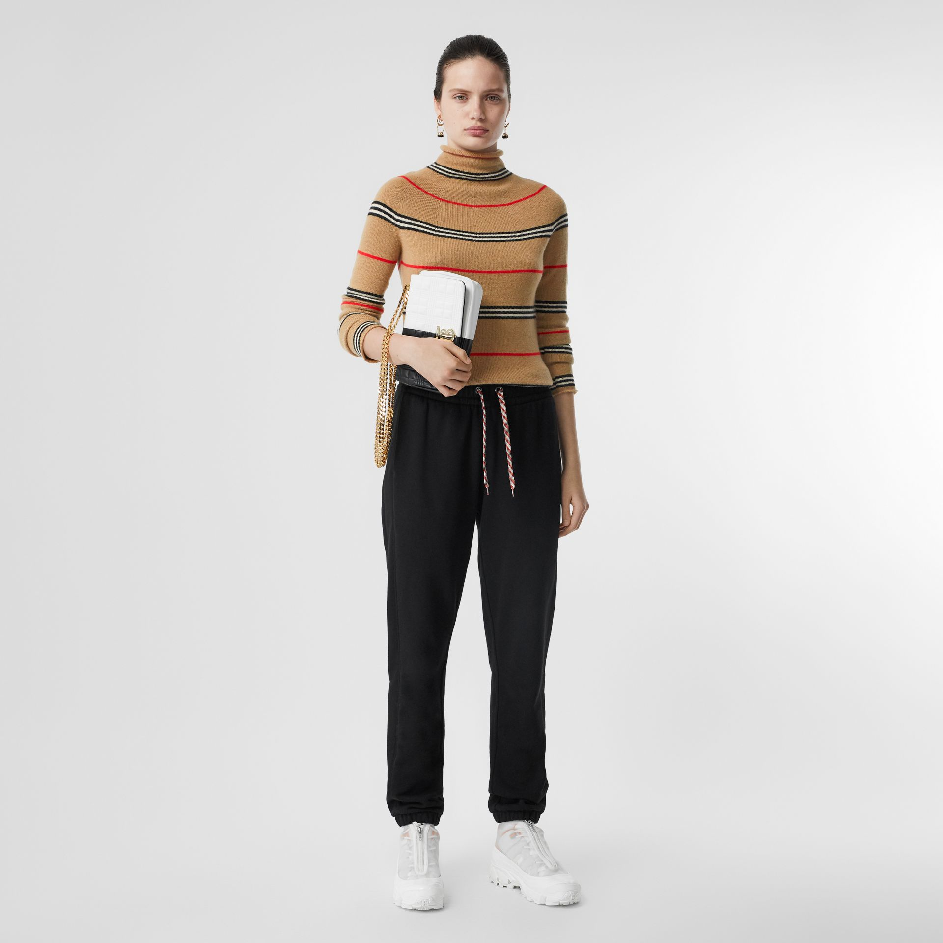 Icon Stripe Cashmere Turtleneck Sweater in Archive Beige - Women | Burberry Hong Kong S.A.R - gallery image 0