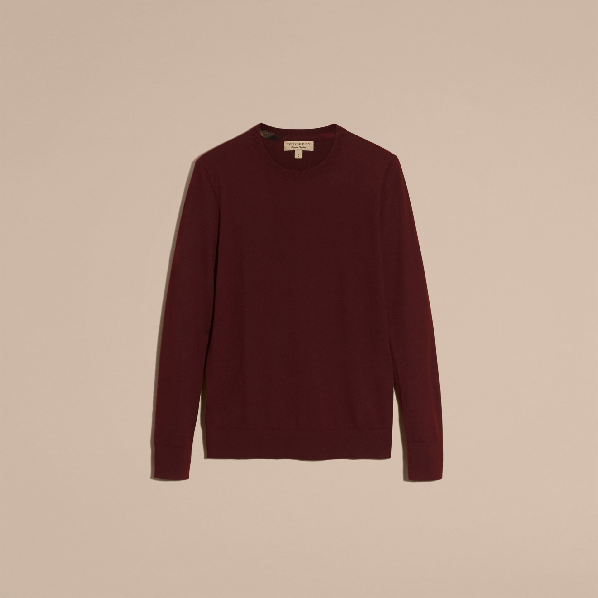 Deep claret Lightweight Crew Neck Cashmere Sweater with Check Trim Deep Claret - gallery image 4