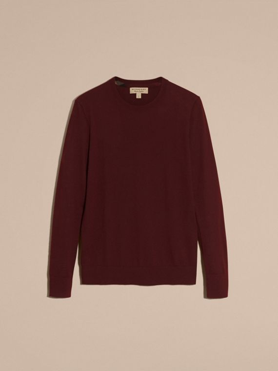 Lightweight Crew Neck Cashmere Sweater with Check Trim in Deep Claret - Men | Burberry - cell image 3