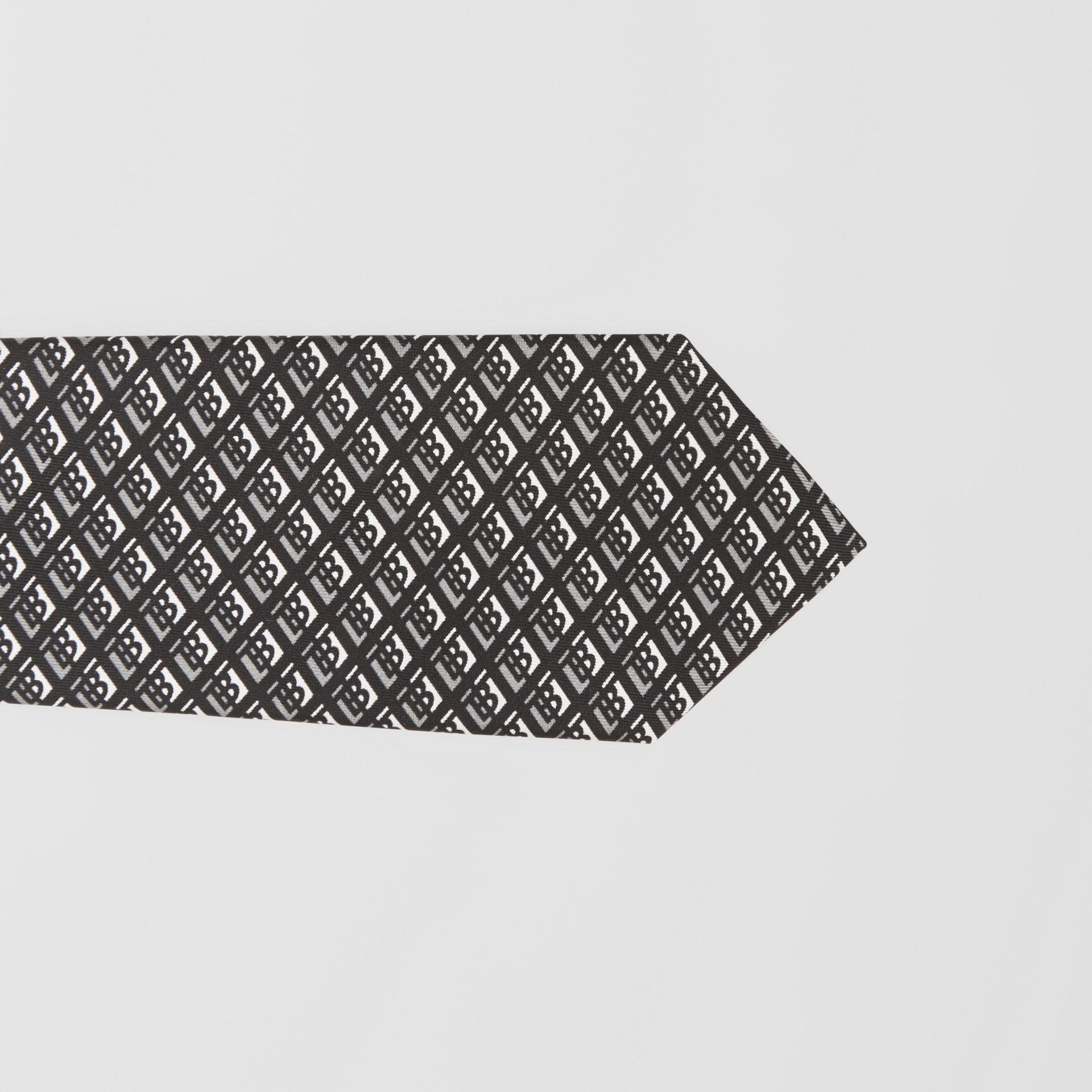 클래식컷 로고 그래픽 실크 타이 (미드 그레이) - 남성 | Burberry - 갤러리 이미지 1