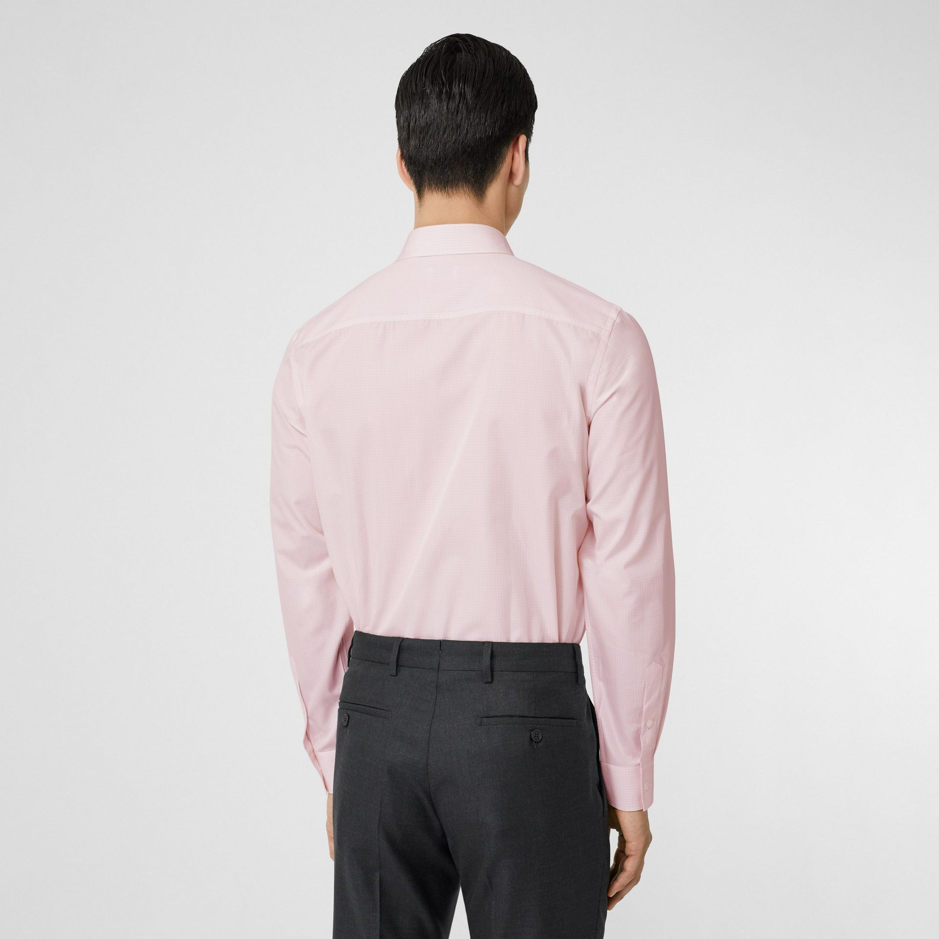 Slim Fit Micro Check Cotton Poplin Shirt in Alabaster Pink - Men | Burberry Australia - gallery image 2