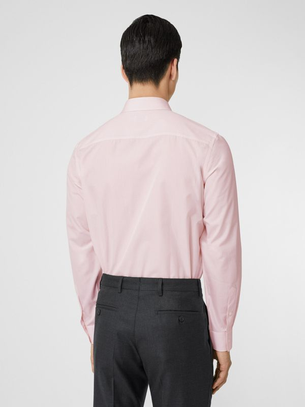 Slim Fit Micro Check Cotton Poplin Shirt in Alabaster Pink - Men | Burberry Australia - cell image 2