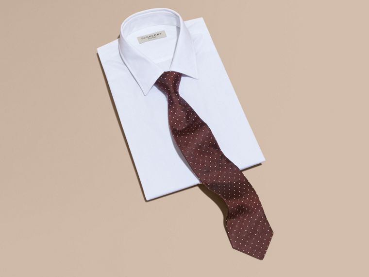 Classic Cut Polka Dot Silk Twill Tie in Deep Claret - Men | Burberry - cell image 2