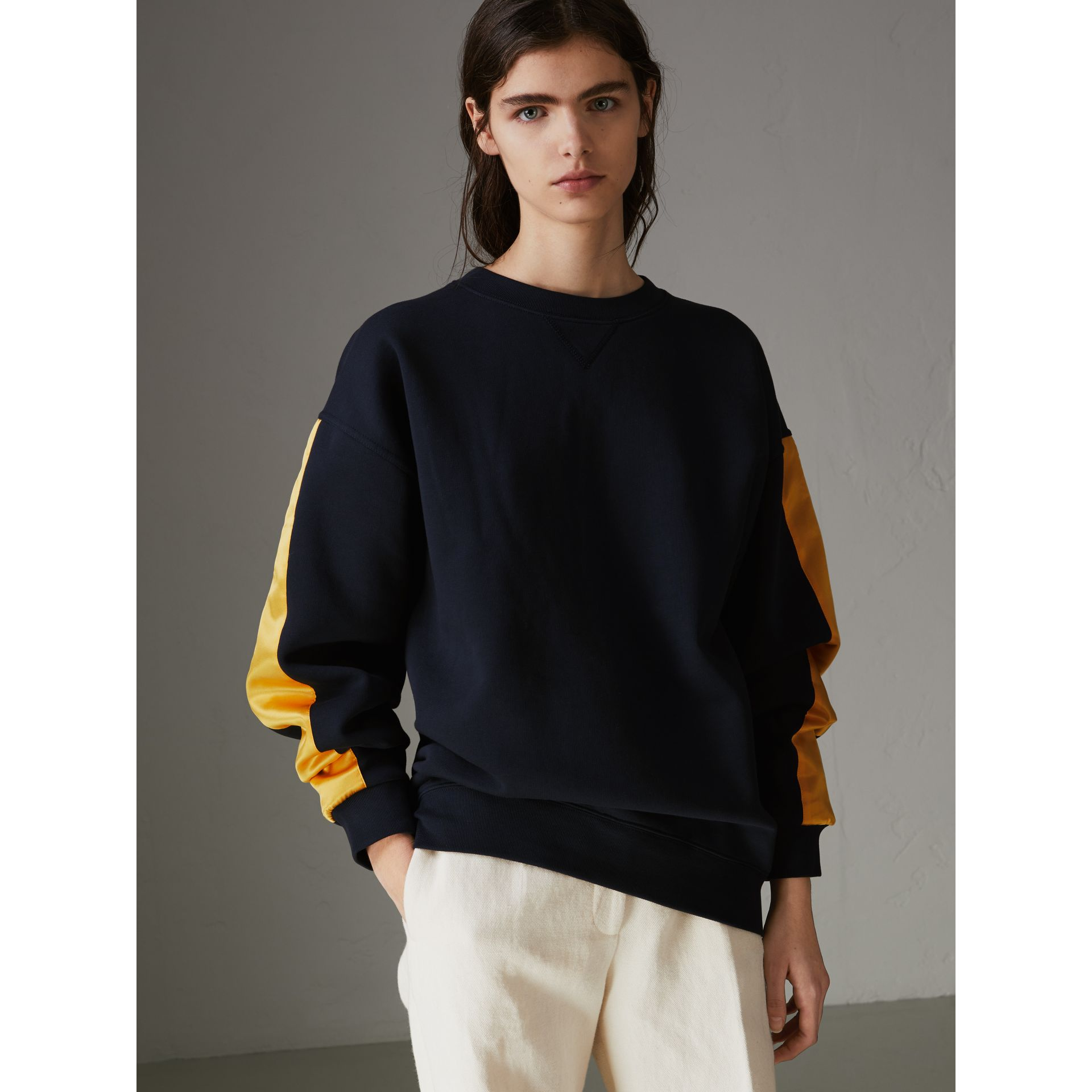 Satin Stripe Cotton Blend Sweatshirt in Navy - Women | Burberry - gallery image 3