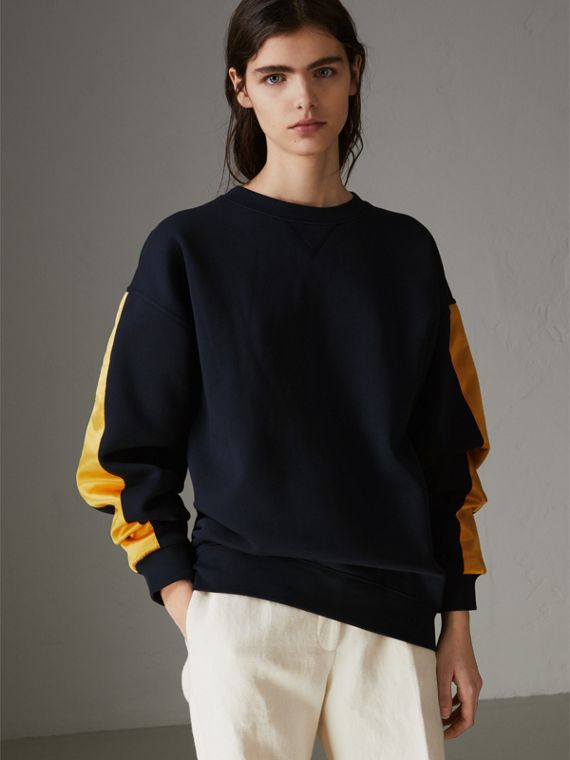 Satin Stripe Cotton Blend Sweatshirt in Navy