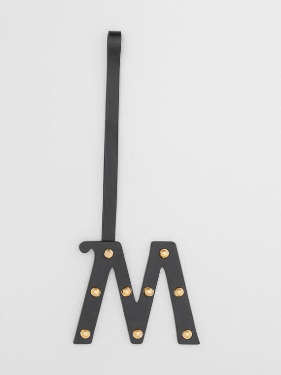 'M' Studded Leather Alphabet Charm in Black/light Gold