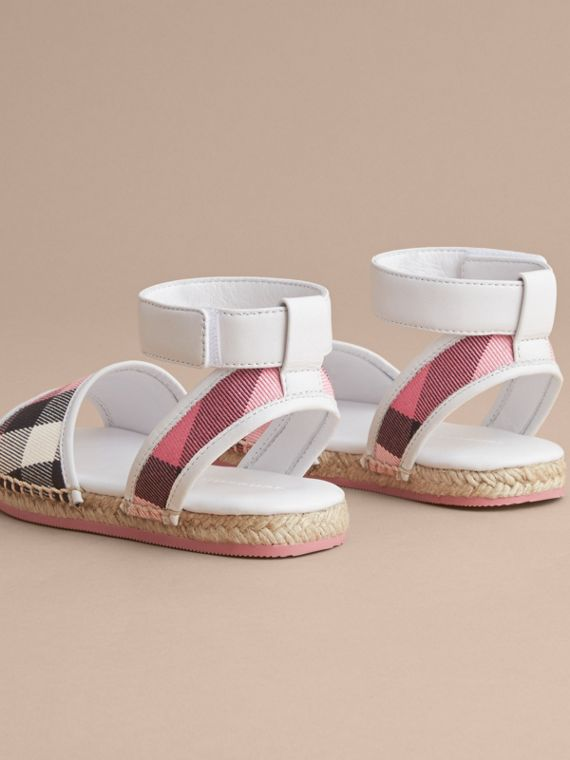 Leather Ankle Strap and House Check Espadrille Sandals in Rose Pink - Girl | Burberry Hong Kong - cell image 3