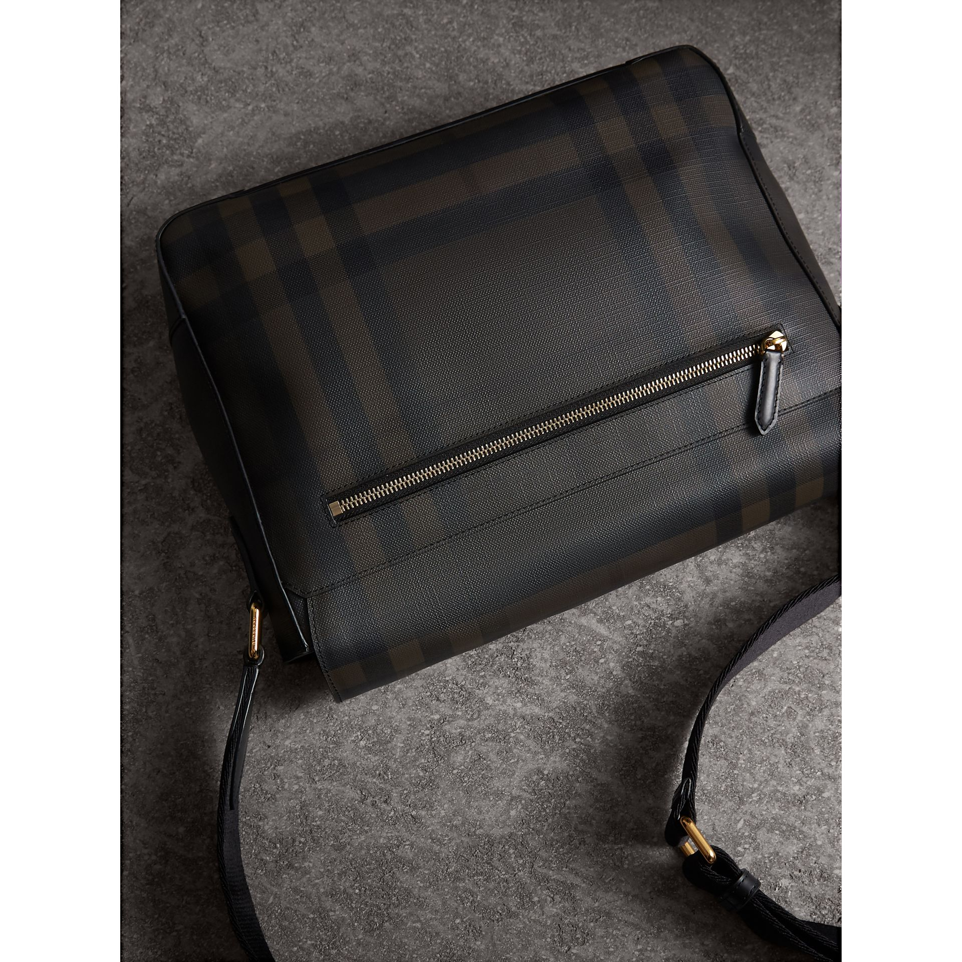 Medium Leather Trim London Check Messenger Bag in Chocolate/black - Men | Burberry - gallery image 4