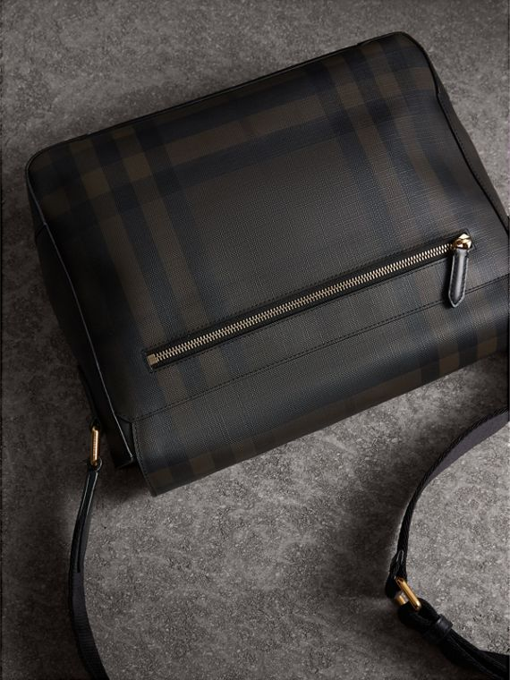 Medium Leather Trim London Check Messenger Bag in Chocolate/black - Men | Burberry - cell image 3