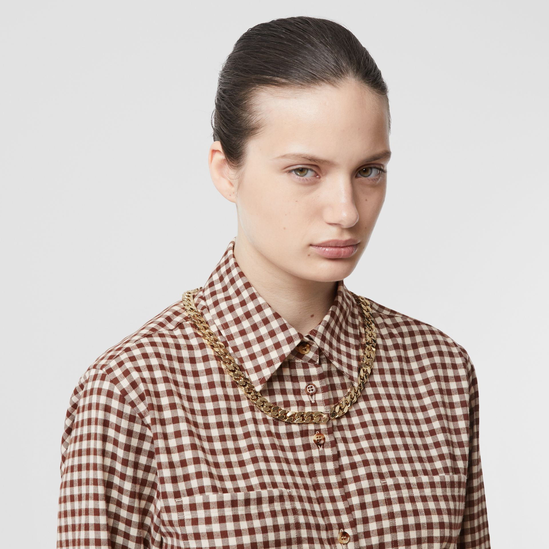 Chain Detail Gingham Cotton Flannel Oversized Shirt in Brown - Women | Burberry - gallery image 1