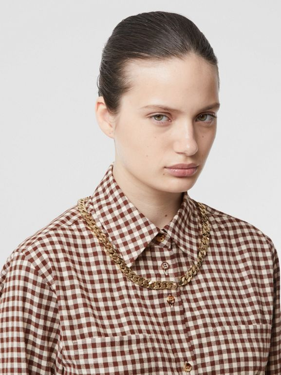 Chain Detail Gingham Cotton Flannel Oversized Shirt in Brown - Women | Burberry - cell image 1