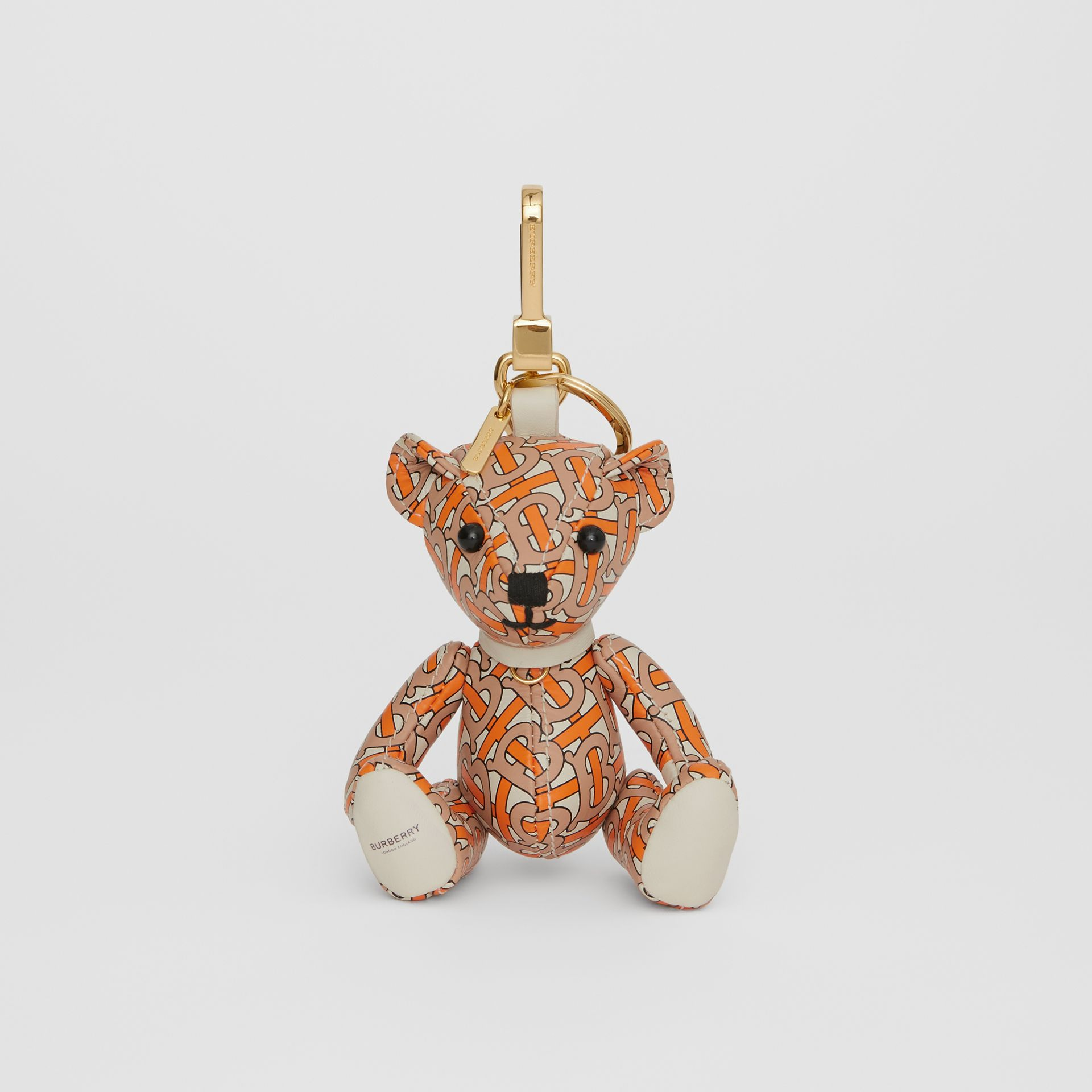 Thomas Bear Charm in Monogram Print Leather in Vermilion - Women | Burberry - gallery image 2