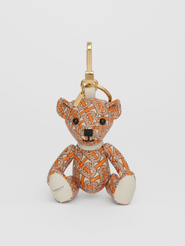 Thomas Bear Charm in Monogram Print Leather in Vermilion - Women | Burberry - cell image 2