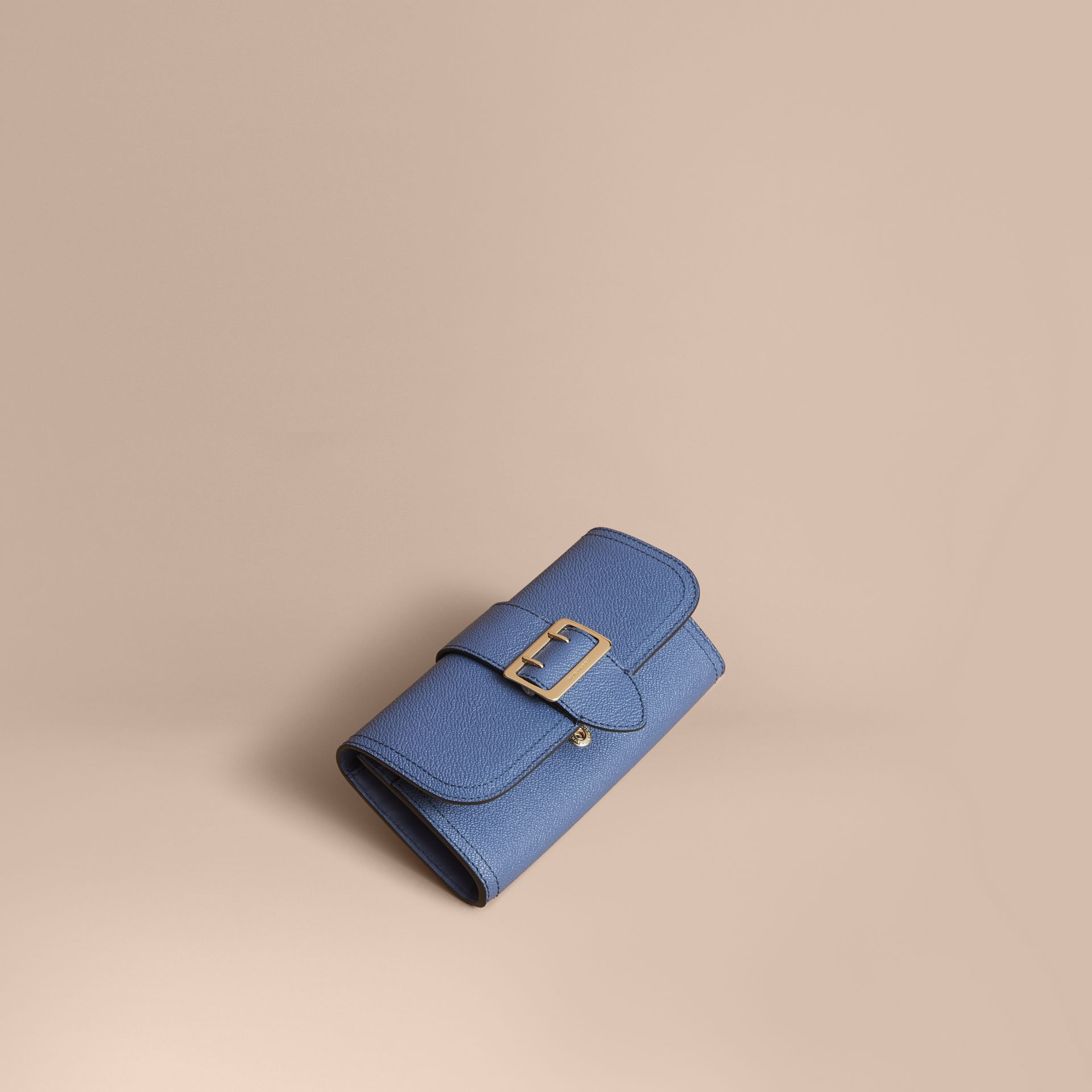 Textured Leather Continental Wallet in Steel Blue - Women | Burberry Singapore - gallery image 1