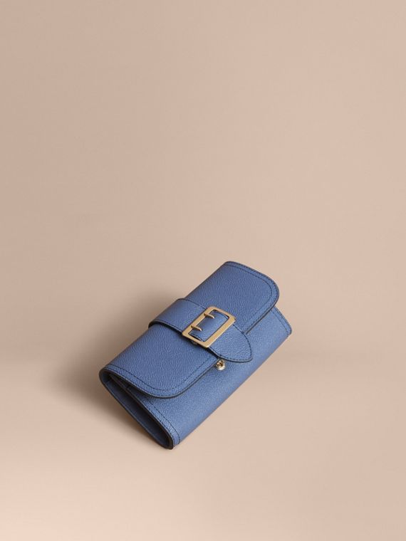 Textured Leather Continental Wallet in Steel Blue - Women | Burberry