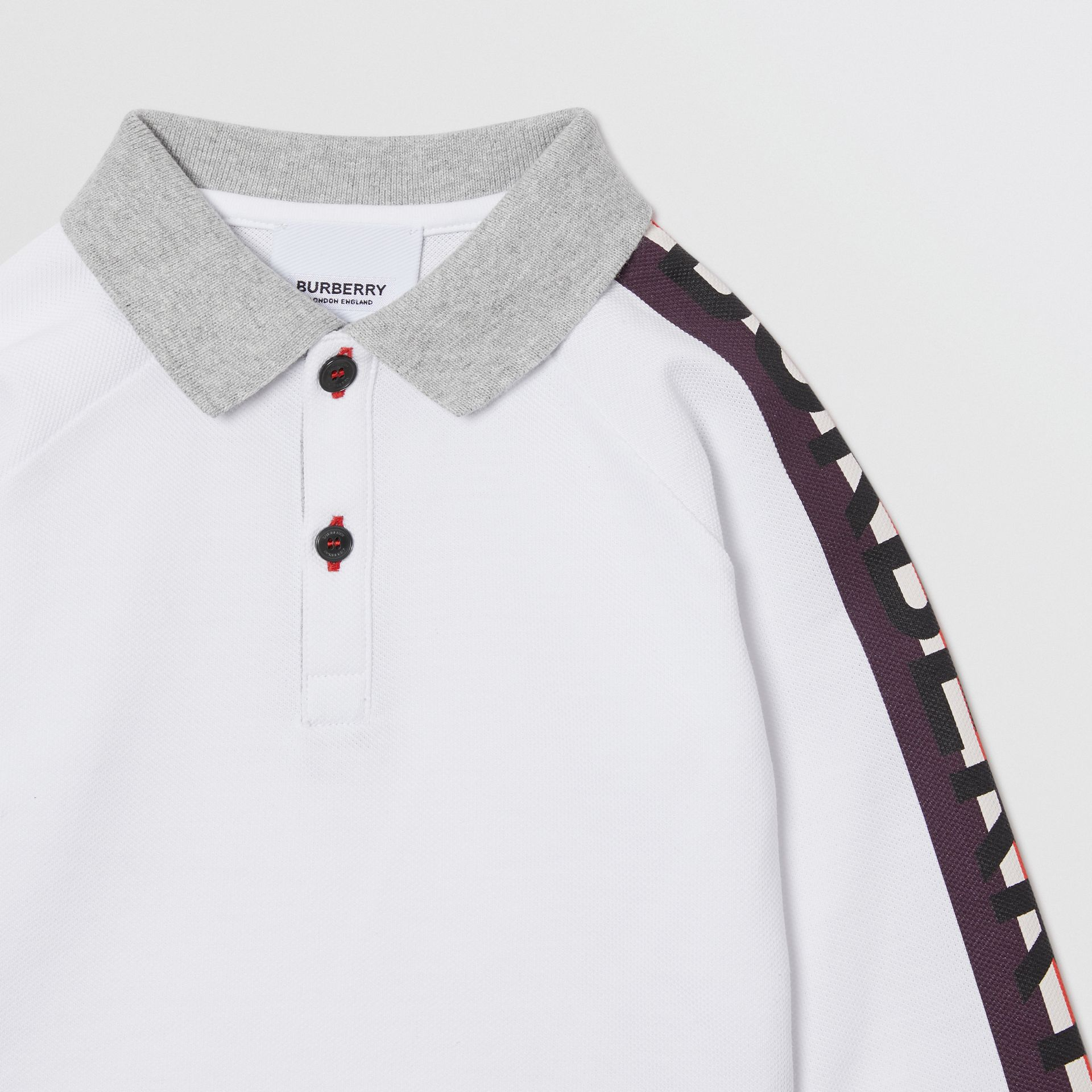Long-sleeve Logo Print Cotton Polo Shirt in White - Children | Burberry Singapore - gallery image 4