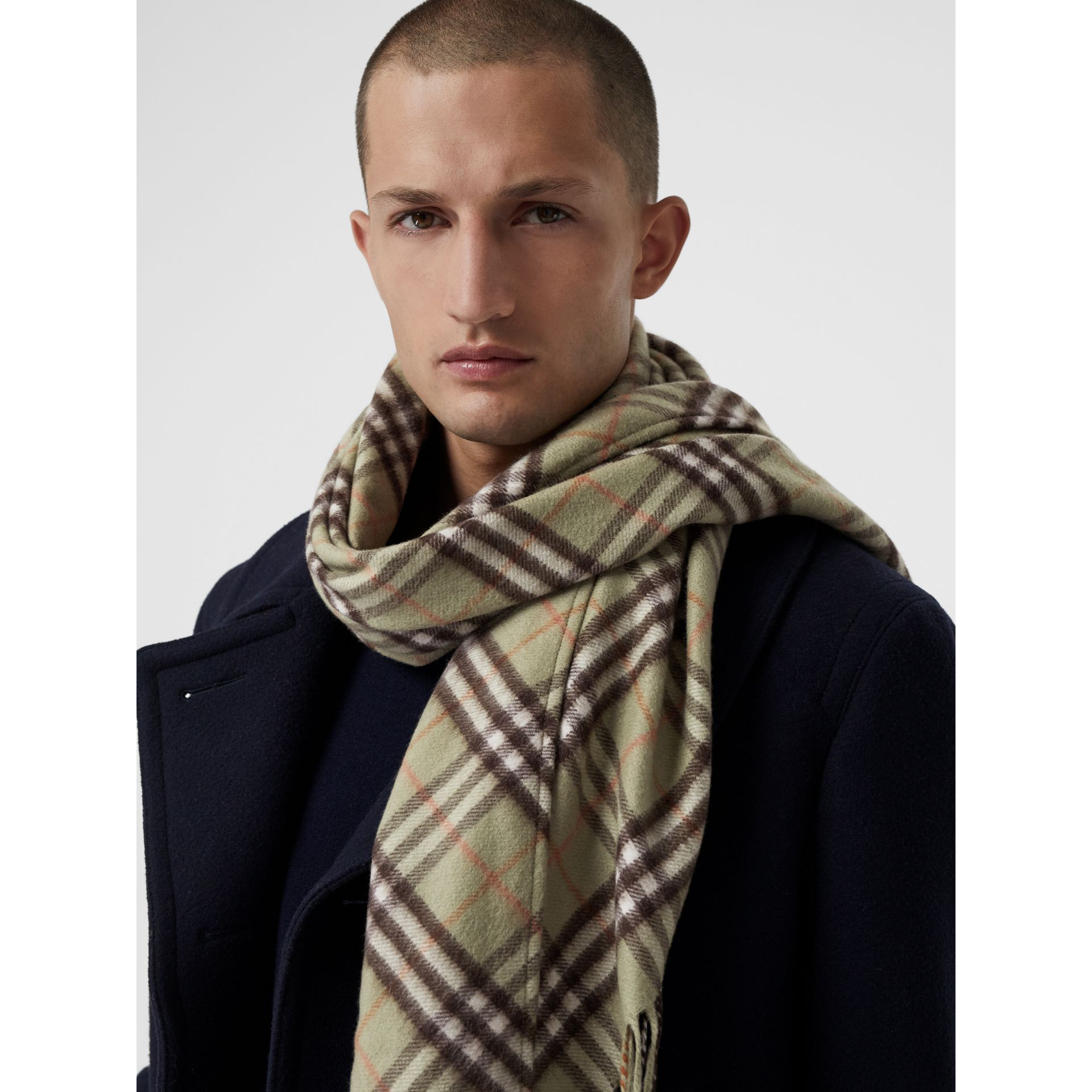 The Burberry Bandana in Check Cashmere in Pale Powder Green | Burberry United Kingdom - gallery image 6