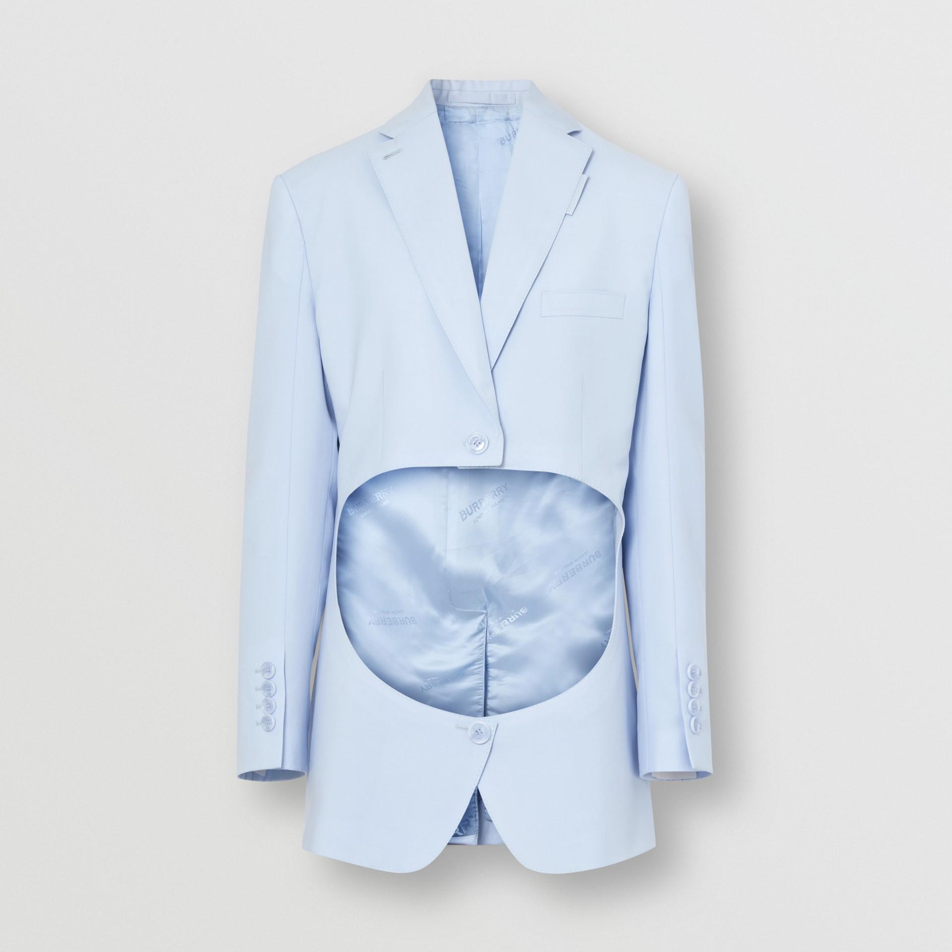 Blazer en laine avec découpe (Bleu Pâle) - Femme | Burberry Canada - photo de la galerie 3