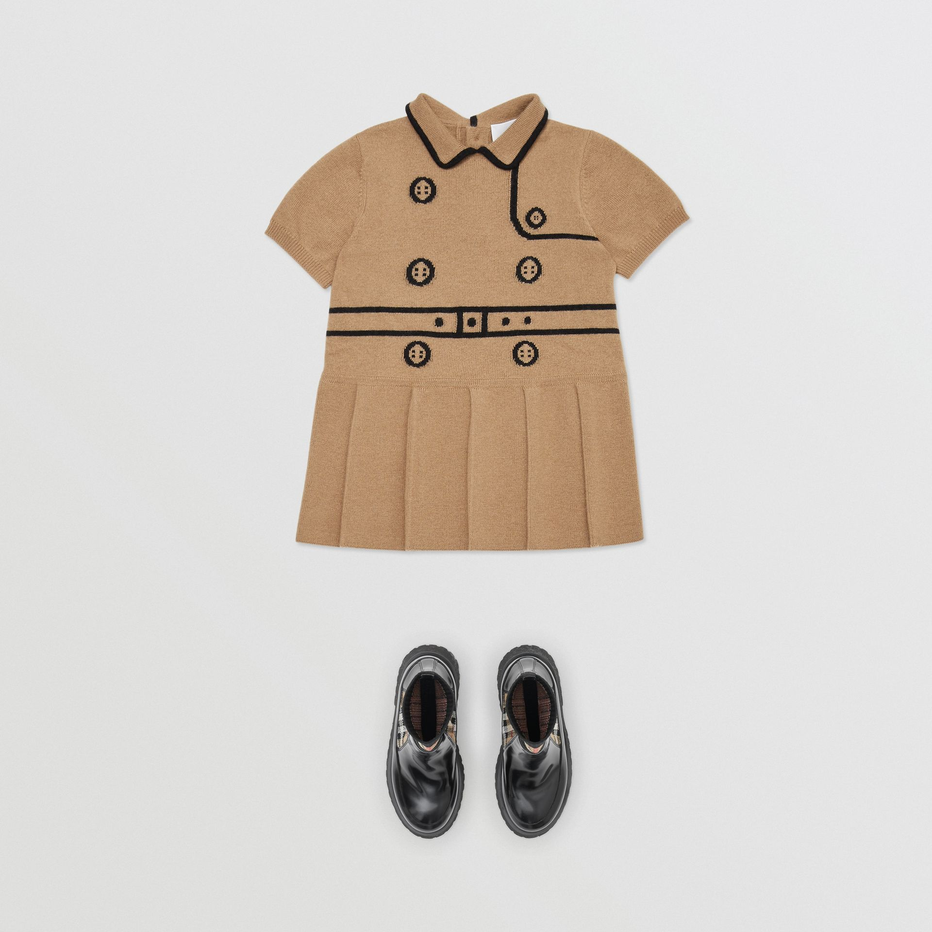 Trompe L'Oeil Intarsia Wool Cashmere Trench Dress in Archive Beige - Children | Burberry United Kingdom - gallery image 2