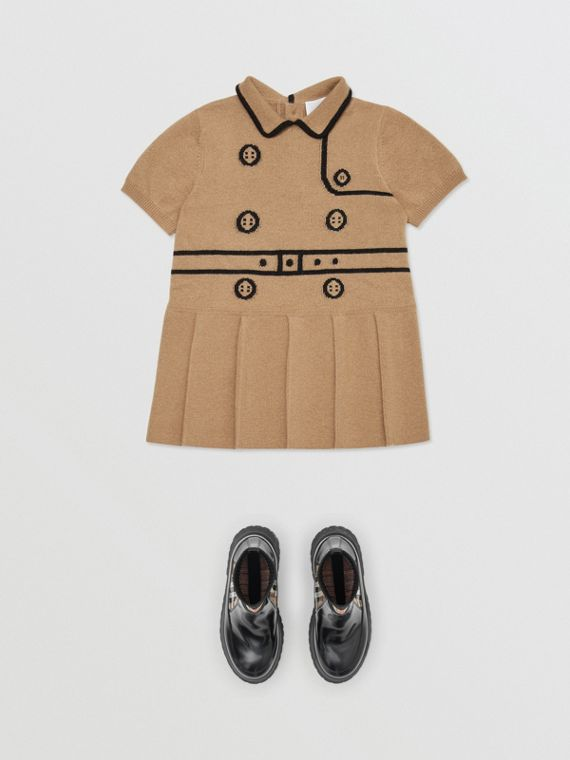 Vestido trench de lã e cashmere com estampa Trompe L'Oeil em intársia (Bege Vintage)