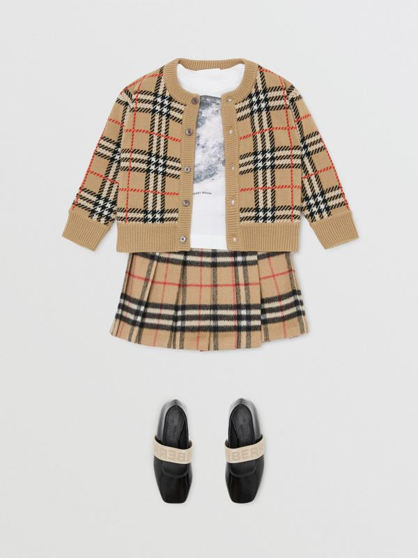 Check Merino Wool Cardigan in Archive Beige - Children | Burberry Singapore - cell image 2