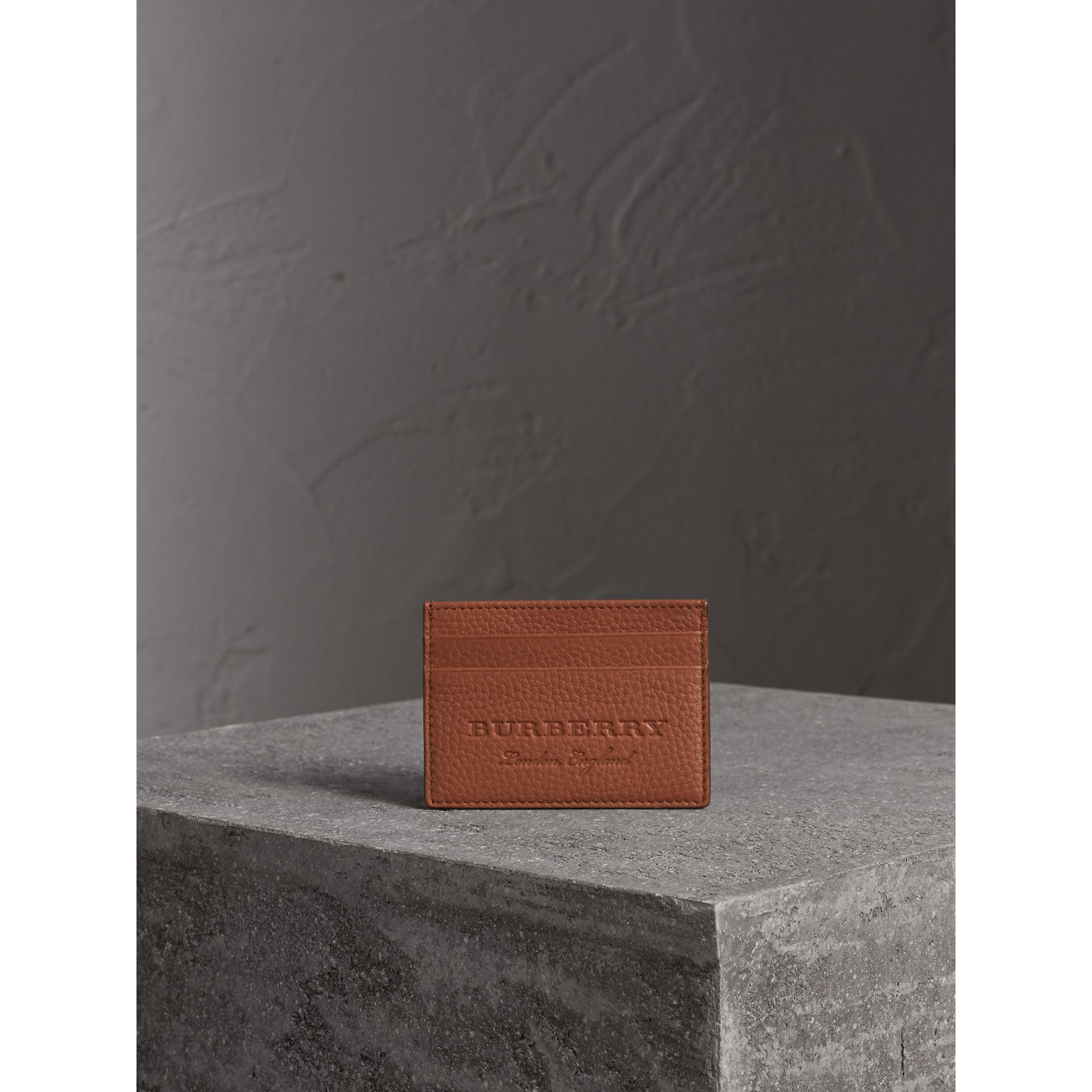 Textured Leather Card Case in Chestnut Brown - Men | Burberry Singapore - gallery image 4