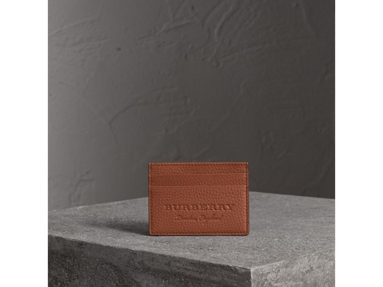 Porta carte di credito in pelle effetto texture (Chestnut Brown) | Burberry - cell image 4
