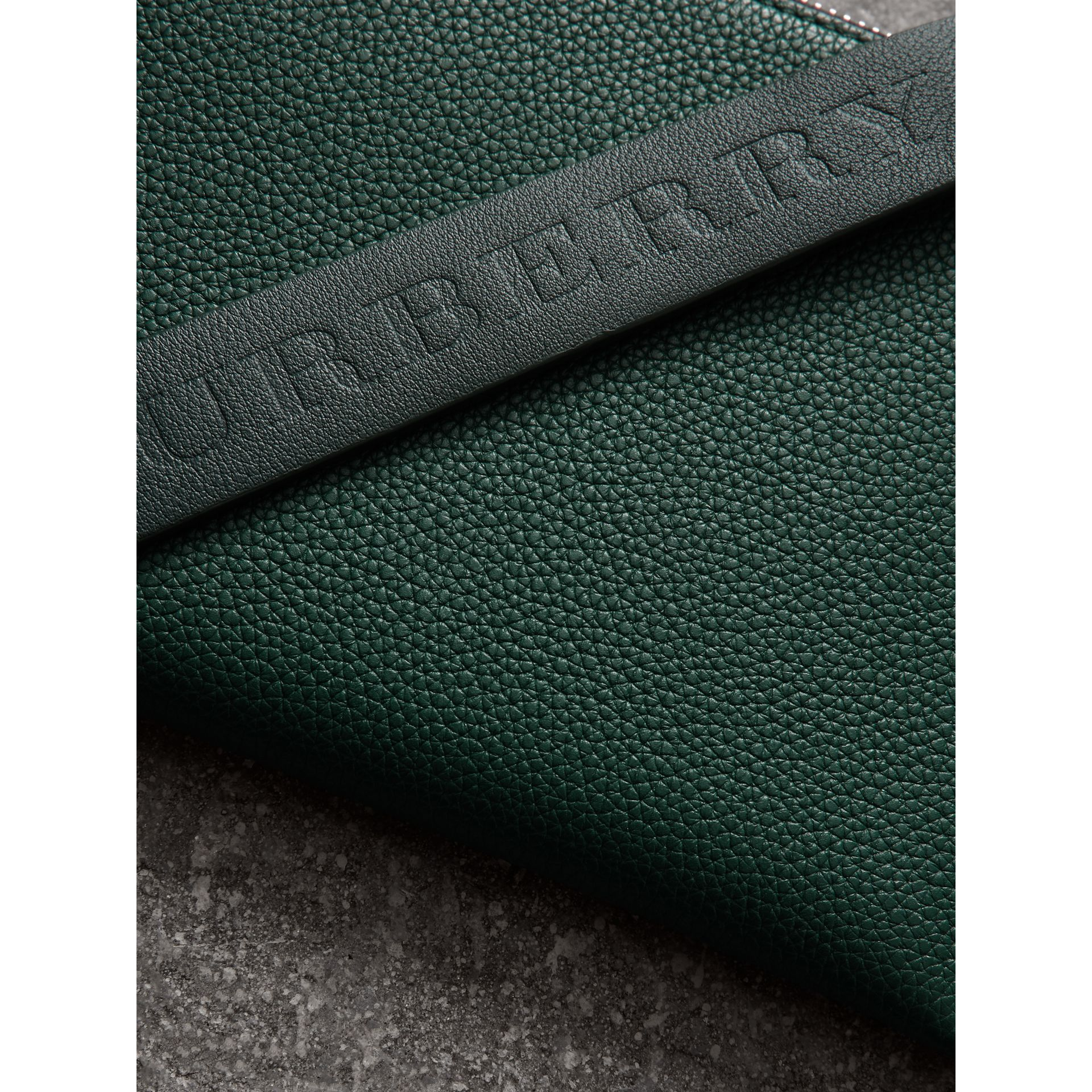 Two-tone Grainy Leather Travel Wallet in Dark Cyan - Men | Burberry - gallery image 1