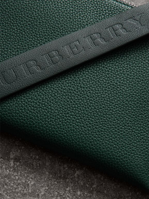 Two-tone Grainy Leather Travel Wallet in Dark Cyan - Men | Burberry - cell image 1