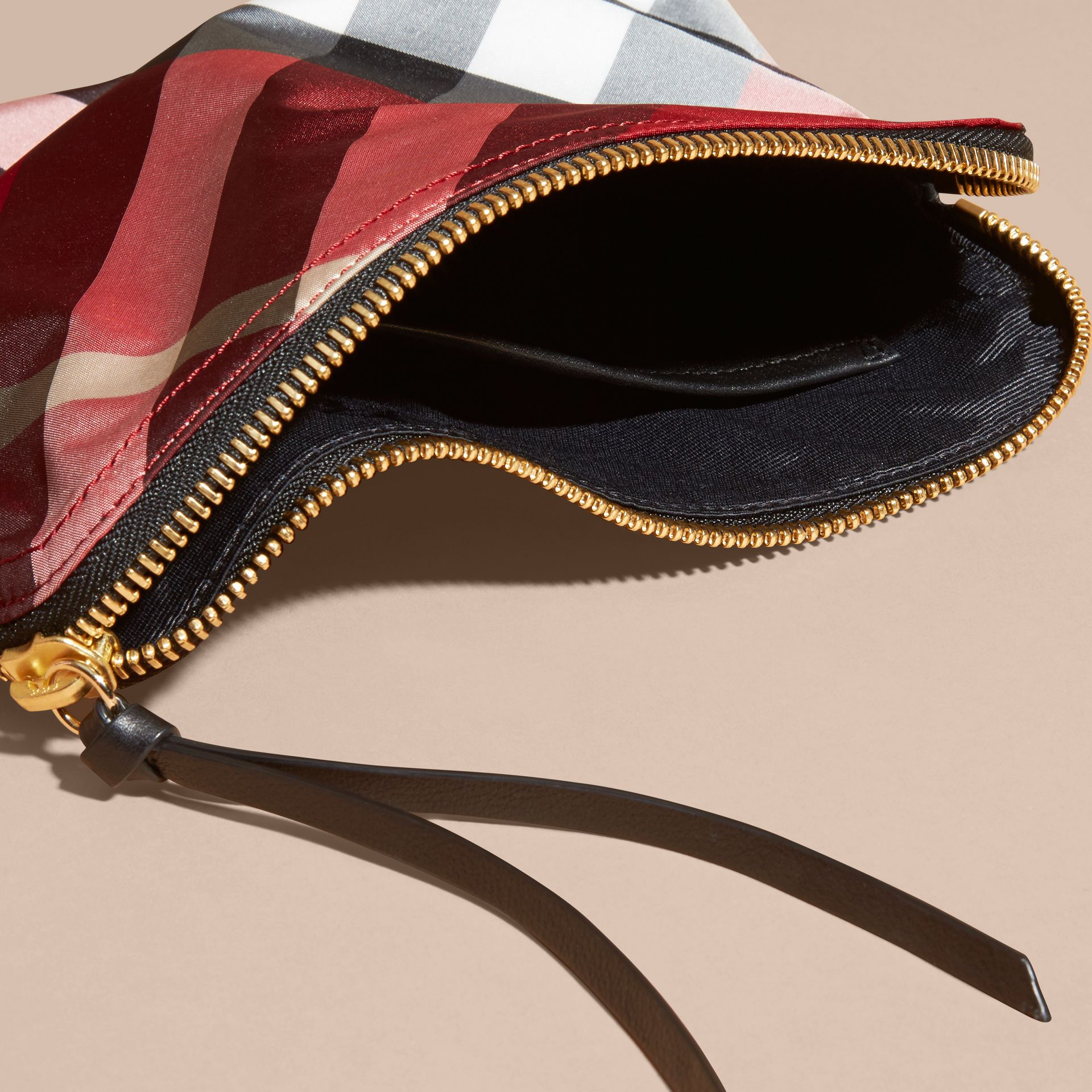 Large Zip-top Check Pouch in Parade Red - Women | Burberry - gallery image 5