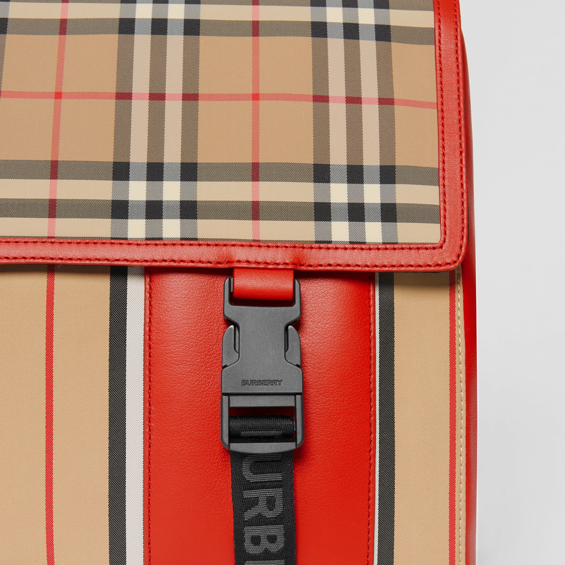 Vintage Check and Icon Stripe Nylon Backpack in Bright Military Red - Children | Burberry - gallery image 1
