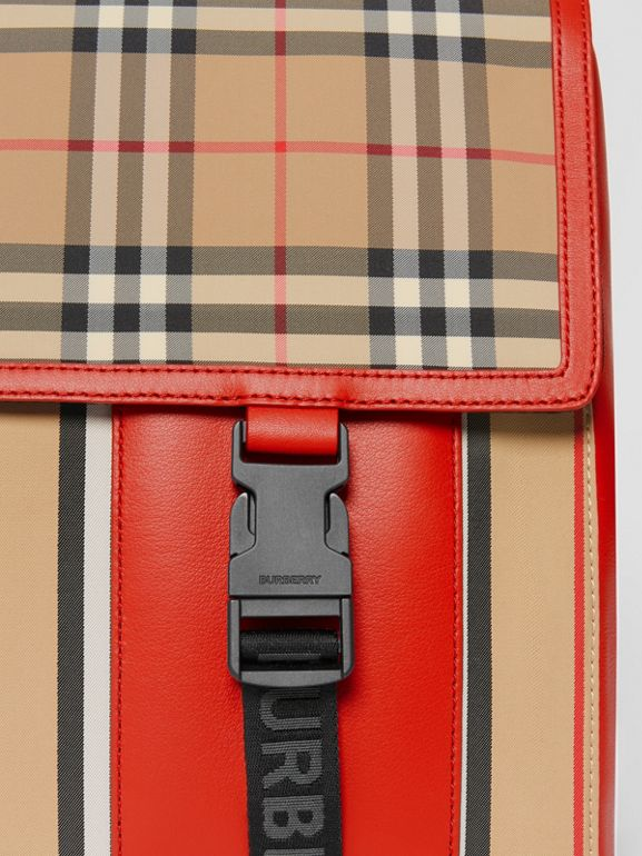 Vintage Check and Icon Stripe Nylon Backpack in Bright Military Red - Children | Burberry - cell image 1