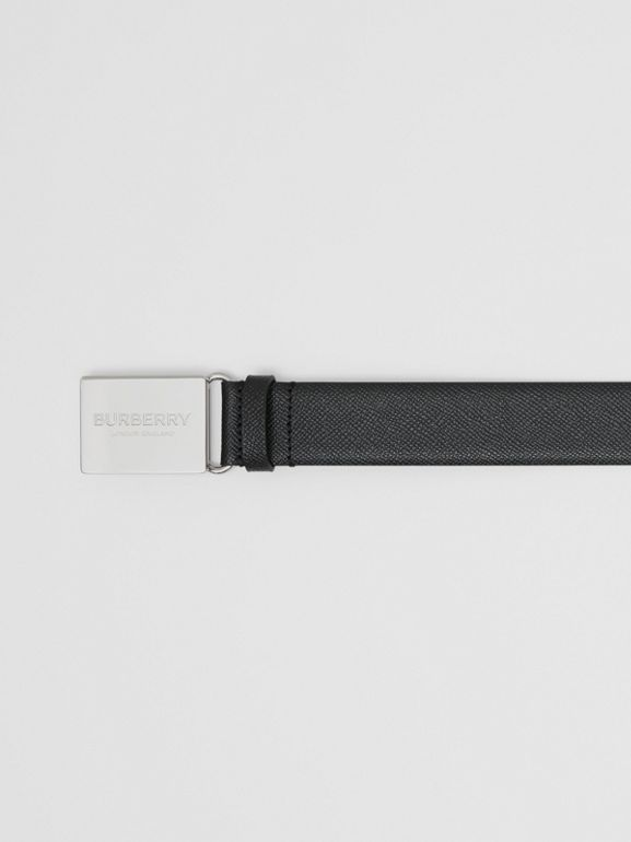 Plaque Buckle Grainy Leather Belt in Black - Men | Burberry United Kingdom - cell image 1