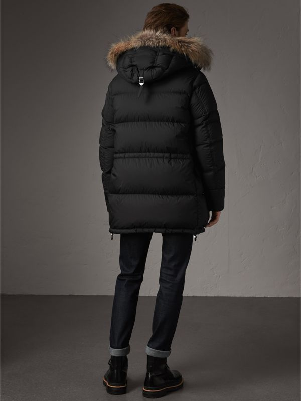 Detachable Raccoon Fur Trim Hood Down-filled Parka in Black - Men | Burberry - cell image 2